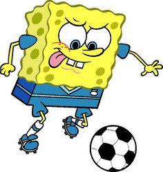 Bob Esponja juega fútbol