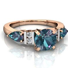 Lab Alexandrite and Lab Alexandrite Engagement Ring R2005-RCACACA