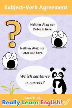 The subject-verb agreement in English: full details with many examples and illustrations. Grammar And Vocabulary, Grammar Lessons, English Vocabulary, English Grammar, Teaching English, English Language, Subject Verb Agreement Rules, Subject And Verb, English Quiz