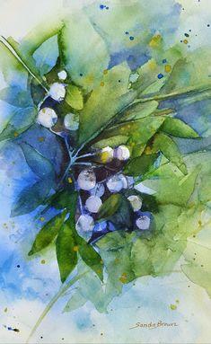 Dreaming of Blueberries. Watercolour Sandie Brown.com.
