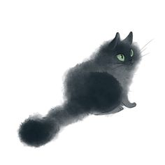 Black Cat Drawing Illustration Cute Surprised Fluffy Kitty Print - Duster - Fushion News Cat Eye Tattoos, Cat Tattoo, Cat Eyes Drawing, Black Cat Drawing, Draw Eyes, Cute Cat Drawing, Drawing Drawing, Cat Sketch, Cool Cats