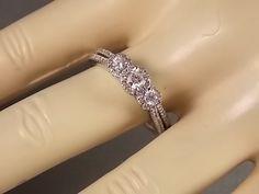 Diamond Halo Ring 3 stone style .75Ctw White by estatejewelryshop