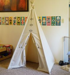 This is our first hand print teepee. The AZTEC!!  Hand carved stamp printed on nature unbleached canvas,this teepee is everything about unique and
