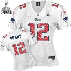 0dc42b432 New England Patriots Tom Brady Women White Sweetheart 2012 Super Bowl  Jersey Super Bowl Jerseys