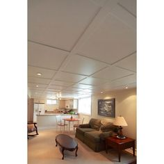 Looks life coffered ceiling - SnapClip Suspended Ceiling System - Flat Pure White Basement Ceiling Insulation, Basement Ceiling Painted, Basement Ceiling Options, Basement Ideas, Ceiling Ideas, Suspended Ceiling Systems, Types Of Ceilings, Resin Patio Furniture, Mirror Ceiling