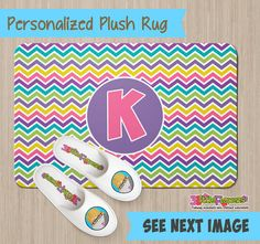 Personalized Rainbow Chevron Rug - Personalized Plush Rug - Personalized Nursery Rug - Children Rug - Nursery Chevron Rug - Rainbow Rug