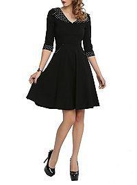 HOTTOPIC.COM - Hell Bunny Rona Black White Polka Dot Dress