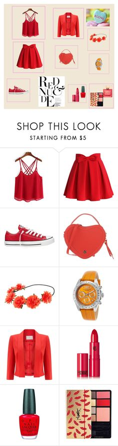 """""""Red Fashion"""" by elmat ❤ liked on Polyvore featuring Chicwish, Converse, Silvian Heach, Invicta, Jacques Vert, Lipstick Queen, OPI, Yves Saint Laurent and Kate Spade"""