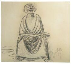 Lector alegre. Carboncillo. 1927. 45 x 41,5 cm. Artista: Ernst Barlach.