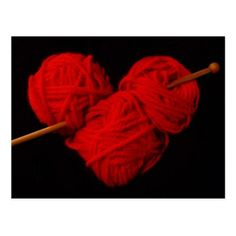 Cute wool heart with knitting needle photograph postcard - love cards couple card ideas diy cyo
