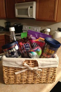 Hospital gift basket I put together for my amazing husband :)