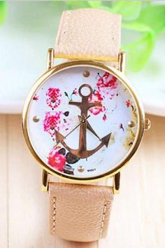 Flowers anchor brown leather unisex teen sailor watch