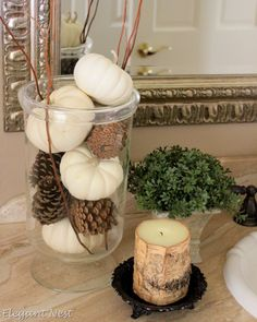 fall vase filler: white pumpkins, pine cones and sticks