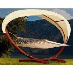Hamac avec support en bois 400 x 120 x 120 cm
