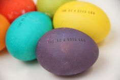 diy stamped easter eggs ` very punny! • Lovely Indeed