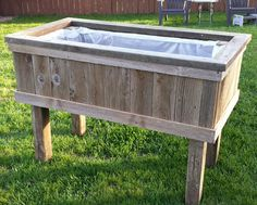 "Another one of my building projects.Reclaimed Privacy Fence Wood Planter Box I think it turned out well, very sturdy and nice ""rustic"" look. Wood Planter Box, Wood Planters, My Building, Victory Garden, Raised Beds, Outdoor Furniture, Outdoor Decor, Fence, Yard"