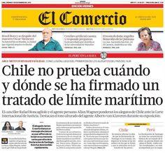 Primer día de alegatos. Chile - 06.12.12 (El Comercio - Perú - 07.12.12). #LaHaya #Peru #Chile