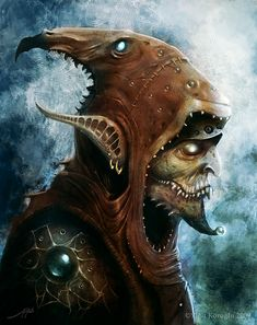 Not all goblins are wimps...This one wears a hood, has an evil-looking face and long pointed ears.