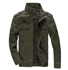Prepare to conquer the wild blue yonder with this Air Force military jacket. Features a stylish Mandarin collar, a sturdy zipper closure with extra snap reinforcements, a warm polyester lining with a