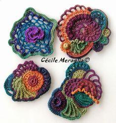 Art Au Crochet, Poncho Crochet, Freeform Crochet, Love Crochet, Irish Crochet, Crochet Motif, Crochet Crafts, Crochet Flowers, Crochet Projects