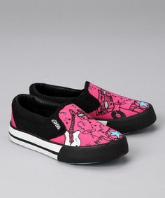 Take a look at this Pink & Black Wanna Rock Slip-On Sneaker by Neon Eaters on #zulily today!