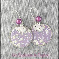 Grande boucles d'oreilles motif liberty  capel violet