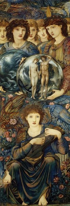 The Days of Creation: The Angels of the Sixth and Seventh Days of Creation, holding a globe that shows Adam and Eve, with the Angel of the seventh day at rest in the foreground ~ Edward Burne-Jones Pre Raphaelite Paintings, John Everett Millais, Edward Burne Jones, Pre Raphaelite Brotherhood, Days Of Creation, Harvard Art Museum, John William Waterhouse, Illustration, Victorian Art