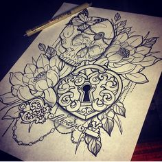 Skull, locket, key, flower, butterfly tattoo