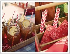 Iced tea in mason jars with striped paper straws. Country Style BBQ Rehearsal Dinner by Alchemy Fine Events www.alchemyfineevents.com