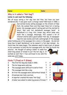 """Why is it called a """"Hot Dog""""? worksheet - Free ESL printable worksheets made by teachers Reading Practice, Reading Skills, Writing Skills, Teaching Reading, Reading Comprehension Worksheets, Reading Passages, English Teaching Materials, Teaching English, English Activities"""