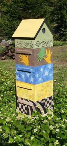 ≗ The Bee's Reverie ≗ painted bee boxes Bee Hives Boxes, Bee Boxes, I Love Bees, Birds And The Bees, Beehive Design, Bee Hive Plans, Beekeeping For Beginners, Bee Supplies, Raising Bees