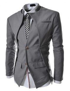 Doublju - Blazer Jacket Slim Gola Dupla Compre roupas de qualidade e621b0f1ec8