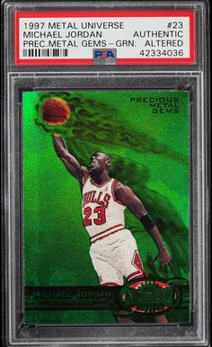 ac9386ddd60 1997 Michael Jordan PMG Green and Red - Michael Jordan Cards Basketball  Cards, Gems,