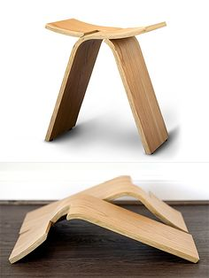 The Interlochen Stool consists of two identical plywood pieces that interlock without any fasteners or glue, and they can be stacked away when the seat is not in use. Design by Ciseal. Folding Furniture, Folding Stool, Plywood Furniture, Furniture Plans, Used Chairs, Cool Chairs, Chair Design, Furniture Design, Blue Velvet Dining Chairs