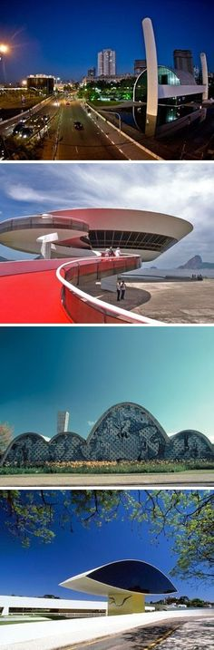 De cima para baixo, o Memorial da América Latina, em São Paulo; o Museu de Arte Contemporânea, em Niterói (RJ), a Igreja da Pampulha, em Belo Horizonte; e o Museu Oscar Niemeyer, em Curitiba. (Foto: G1 e Folhapress)