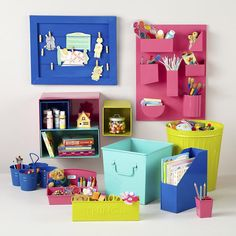 Kids Storage: Colorful Iron Memo Boards in Shelf & Wall Storage