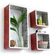 Trista  Vivid Zebra Stripe Rectangle Leather Wall Shelf  Bookshelf  Floating Shelf Set of 3 >>> You can get more details by clicking on the image.