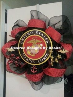 United States Marines Deco Mesh Wreath by DesiredDes on Etsy, $70.00