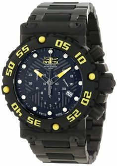 Invicta Men's 10048BLB Subaqua Nitro Chronograph Black Dial Black Watch Invicta. $389.00. Flame-fusion crystal; brushed black ion-plated stainless steel case and bracelet with black polyurethane center links. Swiss quartz movement. Water-resistant to 100 M (330 feet). Black textured dial with black, yellow and white hands, yellow hour markers; luminous; unidirectional black polyurethane bezel with yellow arabic numerals; screw-down crown and pushers; 2 interchangeable polyure...
