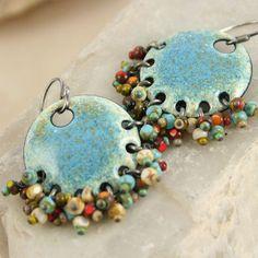 Gypsy Earring - Denim - Ethnic and Organic - Kiln Fired Copper Enamel | TekaandZoe - Jewelry on ArtFire