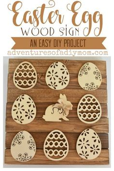 An adorable easter egg wood sign. This comes together really easily with precut eggs and 1x2's.     #eastereggcrafts #eastercrafts #woodcrafts #craftsanddiy #adventuresofadiymom
