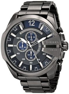 Shop for Diesel Men's Mega Chief Gunmetal Stainless Steel Quartz Watch. Get free delivery On EVERYTHING* Overstock - Your Online Watches Store! Big Watches, Seiko Watches, Casual Watches, Cool Watches, Watches For Men, Analog Watches, Citizen Watches, Stainless Steel Watch, Stainless Steel Bracelet
