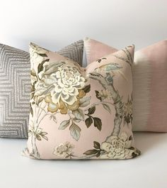 decorative pillows Blush pink and green bird floral decorative pillow cover How To Choose A Shelving Cream Living Rooms, Brown Couch Living Room, Green Fabric, Floral Fabric, Pink And Green, Blush Pink, Blush Rosa, Shades Of Beige, Home Decor Fabric
