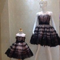 Fabric Type: lace Dresses Length: knee-length Neckline: strapless Silhouette: A-line Built-in Bra:Yes Color: black  Welcome to my shop! We can custom make it in your measurement and color. You just need to send in your measurements and custom color code on attached color chart when check...