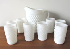 Anchor Hocking Milk glass Hob Nail Pitcher & Tumblers, Hobnail Pitcher, Glasses