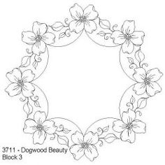 Dogwood Beauty Block 3: Click To Enlarge Hand Embroidery Patterns, Ribbon Embroidery, Cross Stitch Embroidery, Machine Embroidery, Craft Patterns, Flower Patterns, Flower Designs, Parchment Design, Parchment Craft