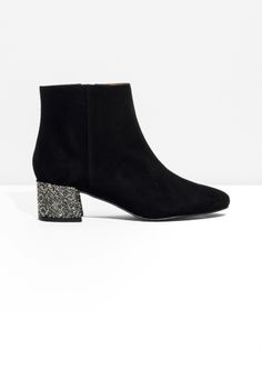 & Other Stories | Suede Sequined-Heel Ankle Boot