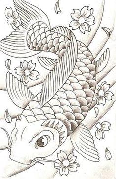 """Képtalálat a következőre: """"koi art"""" Japanese Koi Fish Tattoo, Koi Fish Drawing, Fish Drawings, Outline Drawings, Tattoo Drawings, Art Drawings, Koi Tattoo Design, Art Koi, Koi Kunst"""
