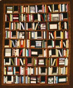 library quilt - Could put the titles of favorite books  on some.