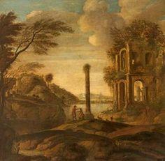 Figures Conversing In A Capriccio Of Ruins In An Estuary Landscape - (Tobias Verhaecht)